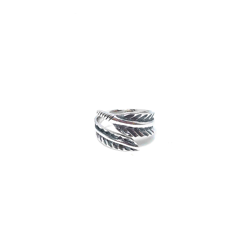 sterling silver feather boho ring