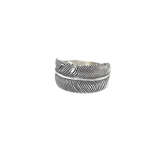 Load image into Gallery viewer, sterling silver adjustable feather ring