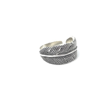 Load image into Gallery viewer, silver feather boho ring