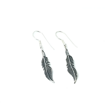 Load image into Gallery viewer, silver boho feather earrings