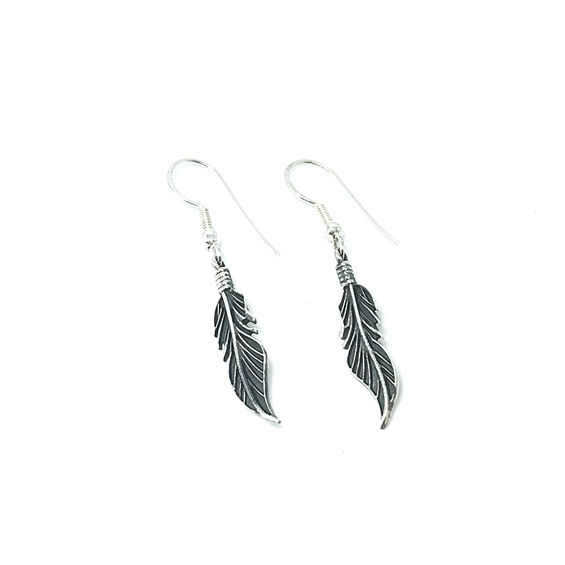 silver boho feather earrings