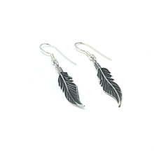 Load image into Gallery viewer, silver feather earrings