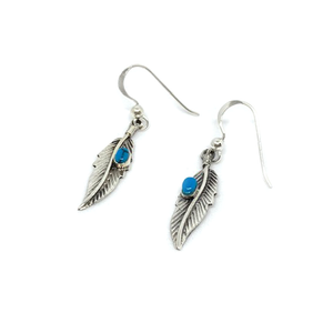 feather turquoise boho silver earrings