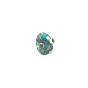 green topaz dichroic glass gemstone ring