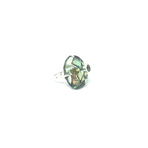 dichroic glass with green topaz boho ring silver