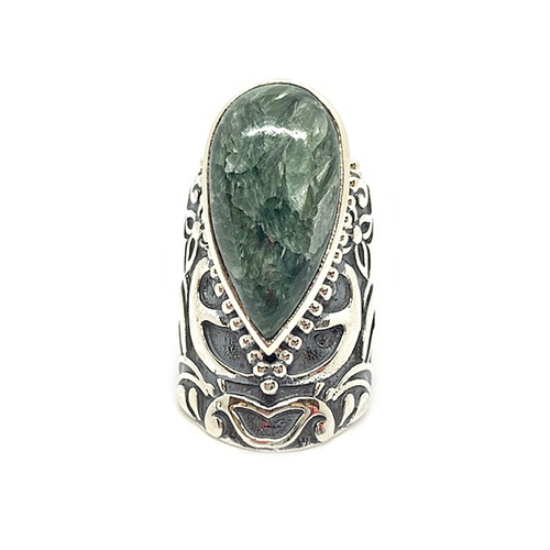 seraphinite large statement silver gemstone ring