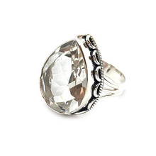 Load image into Gallery viewer, large statement clear quartz sterling silver ring