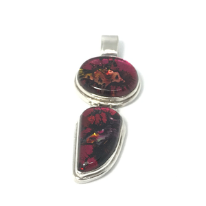 red dichroic glass silver pendant