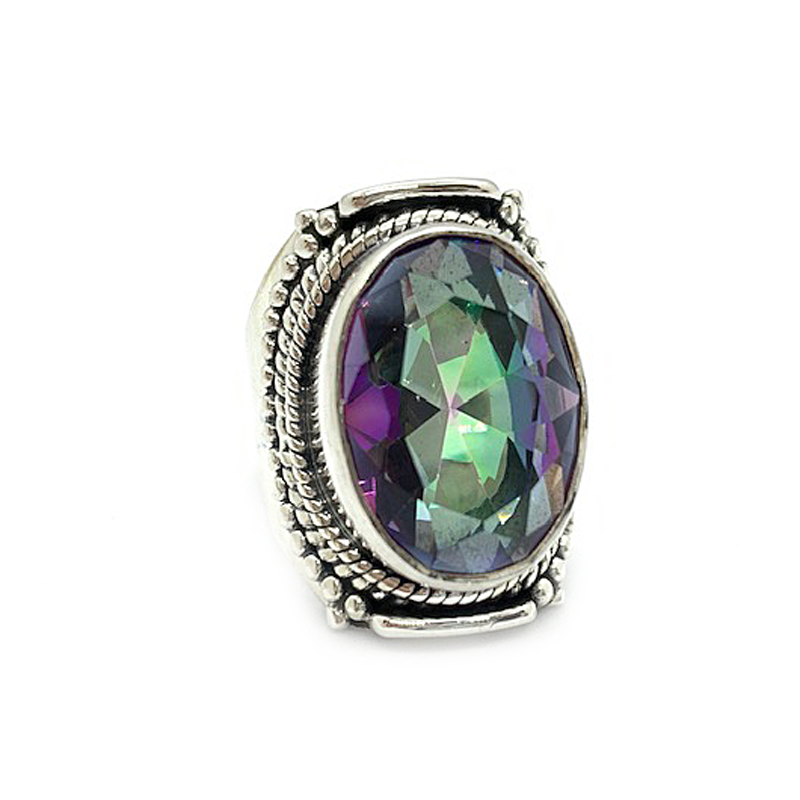 statement mystic topaz tribal style sterling silver gemstone ring