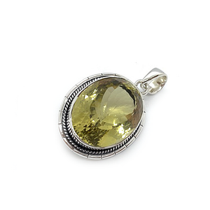 oval sterling silver lemon quartz gemstone pendant
