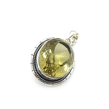 Load image into Gallery viewer, oval sterling silver lemon quartz gemstone pendant