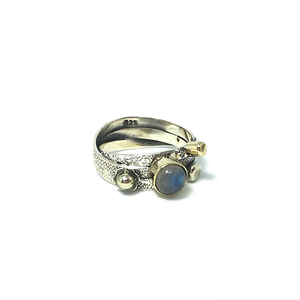 moonstone boho silver gold retro vintage ring