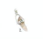 herkimer diamond shard with blue topaz in sterling silver pendant