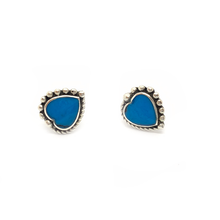 Load image into Gallery viewer, turquoise gemstone heart shaped sterling silver stud earrings
