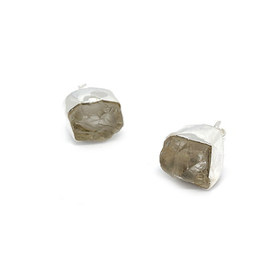 Herkimer Diamond Raw Silver Earrings