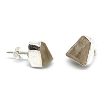 Load image into Gallery viewer, raw herkimer diamond boho style sterling silver stud earrings