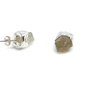 raw herkimer diamond boho style sterling silver stud earrings