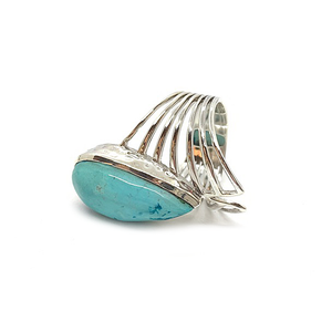 kingman turquoise gemstone silver boho ring