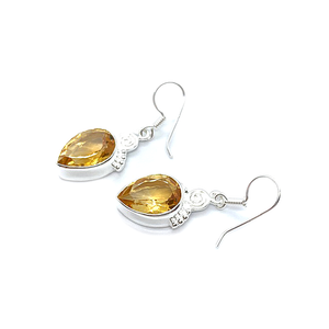 citrine teardrop gemstone sterling silver drop earrings