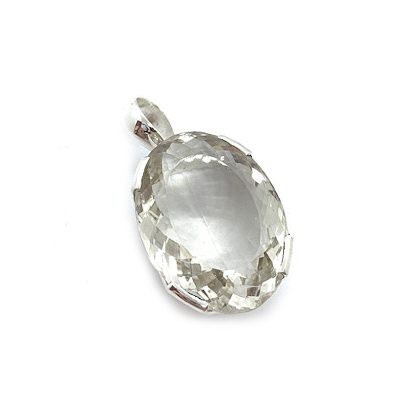 clear quartz crystal sterling silver large boho style pendant
