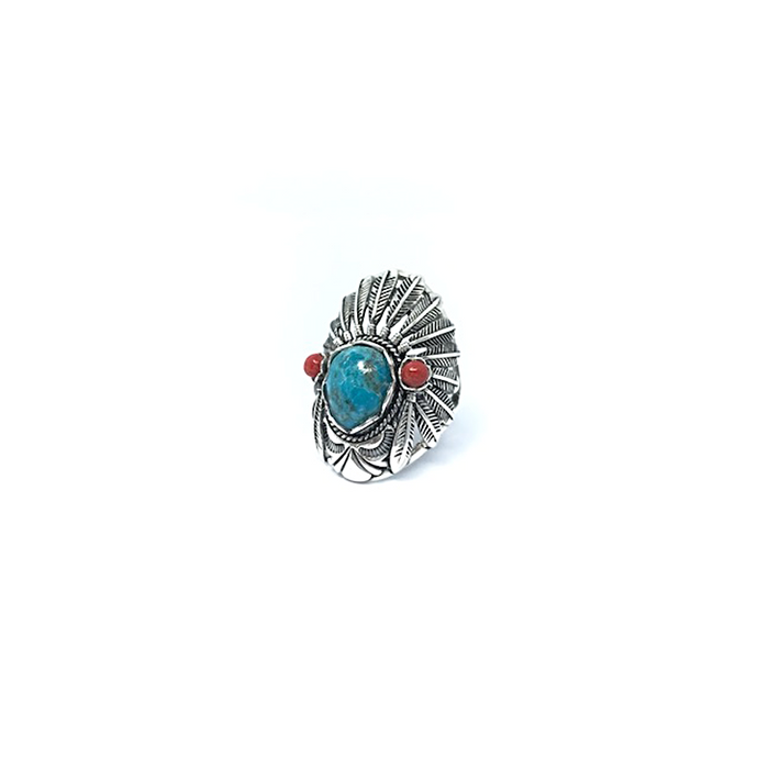 Turquoise Coral Indian Ring Sterling Silver - Stoned Hilda Discover the soul of Gemstones