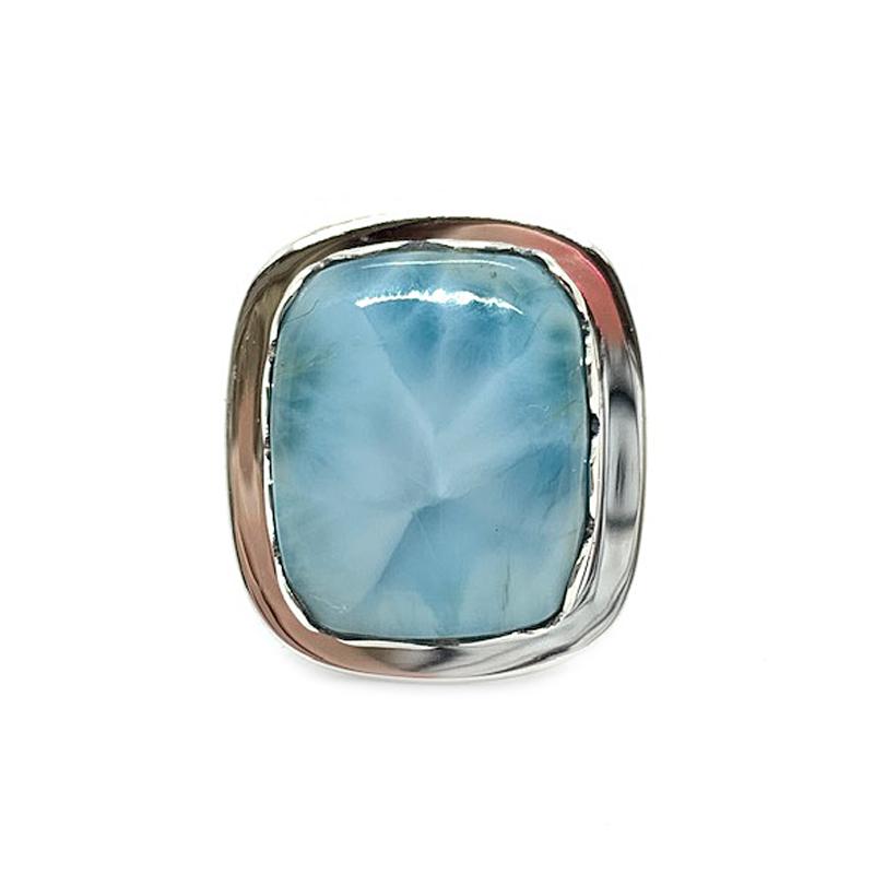 larimar gemstone sterling silver boho style ring