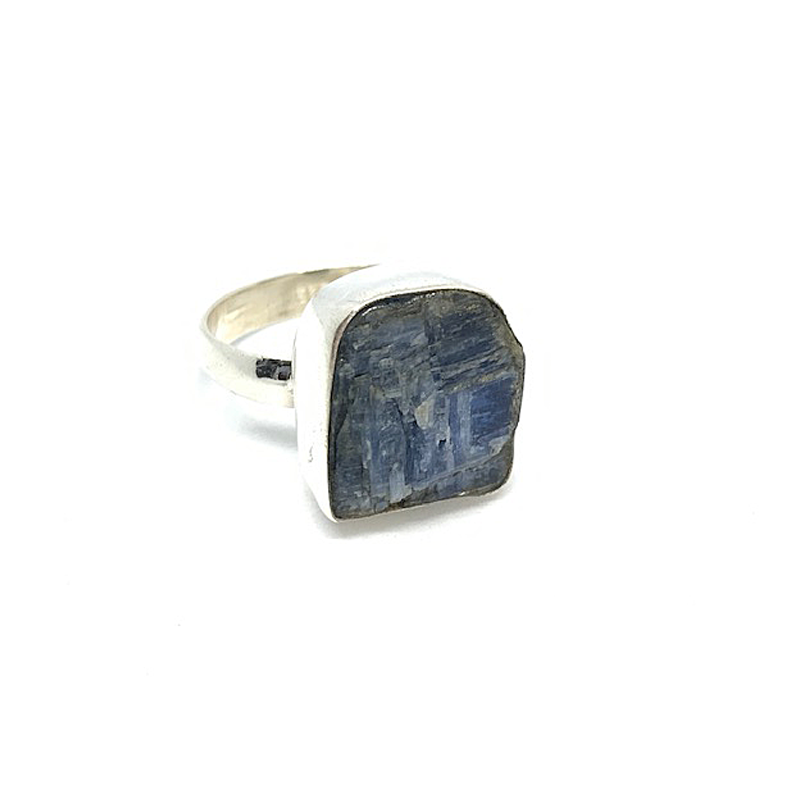 kyanite raw gemstone sterling silver bohemian style ring