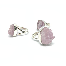 Load image into Gallery viewer, pink kunzite silver gemstone raw stone ring