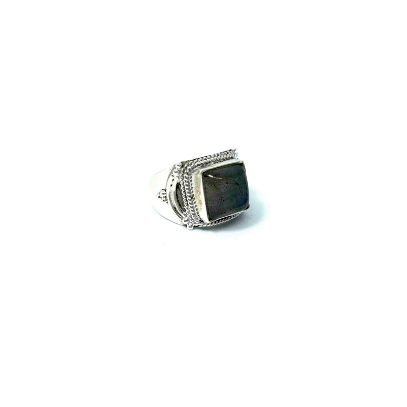 Labradorite Square Gemstone Ring Sterling Silver - Stoned Hilda Discover the soul of Gemstones
