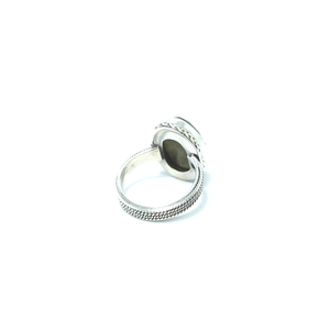 solid sterling silver labradorite gemstone ring