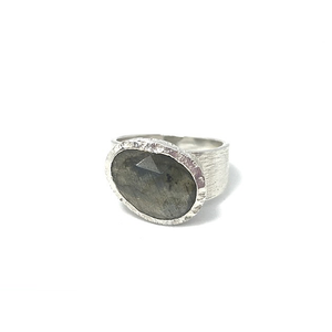 brushed silver labradorite ring