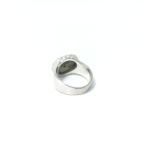 chunky labradorite brushed silver ring