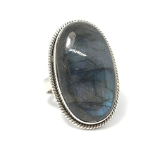 Load image into Gallery viewer, labradorite tall statement silver ring
