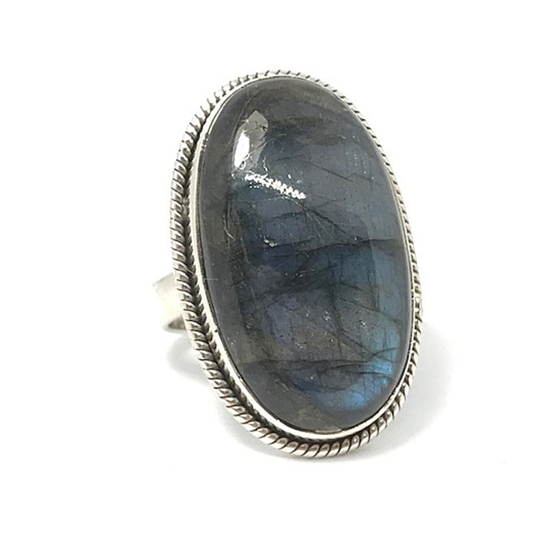 labradorite tall statement silver ring