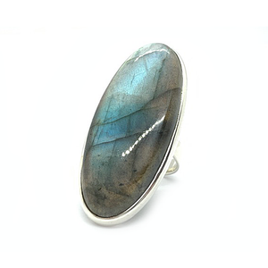 big statement labradorite sterling silver ring