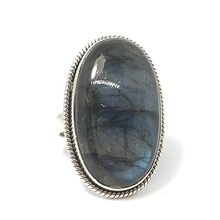 Load image into Gallery viewer, labradorite gemstone tall silver ring