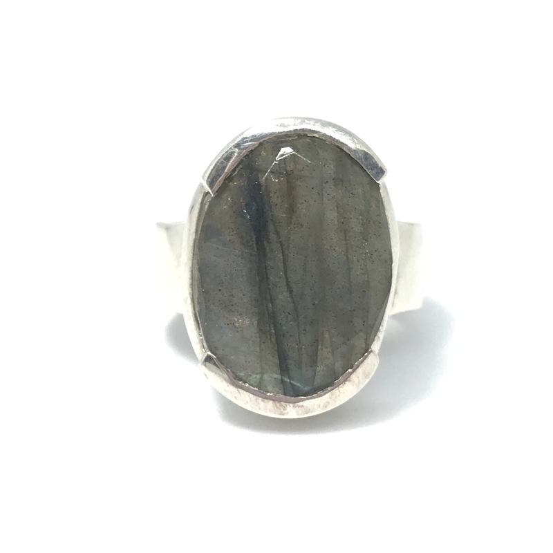 labradorite big sterling silver gemstone ring