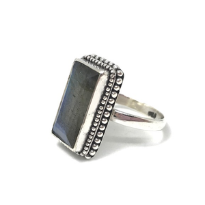 labradorite gemstone silver gypsy ring