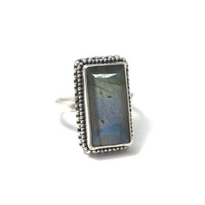 sterling silver labradorite rectange boho ring