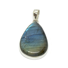 Load image into Gallery viewer, teardrop labradorite sterling silver pendant