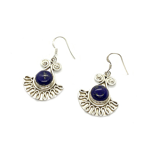 lapis lazuli swirl boho style gypsy sterling silver gemstone earrings