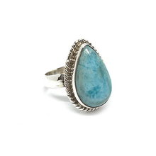 Load image into Gallery viewer, larimar teardrop sterling silver boho style ring