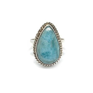 Larimar Gemstone teardrop Bohemian Ring