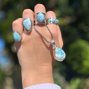 raw larimar pendant in sterling silver