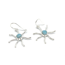 Load image into Gallery viewer, larimar sterling silver sun gemstone earrings