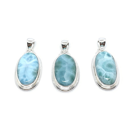Larimar Topaz Moonstone Pendant Set In Sterling Silver - Quirky Pieces
