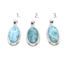 Load image into Gallery viewer, oval larimar sterling silver gemstone boho pendant