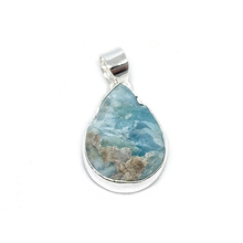 Load image into Gallery viewer, larimar raw gemstone silver pendant