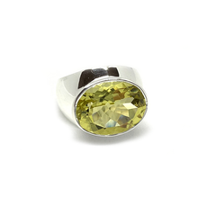 Load image into Gallery viewer, big statement lemon quartz sterling silver ring