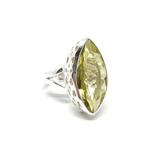 Load image into Gallery viewer, lemon quartz diamond shape sterling silver statement ring